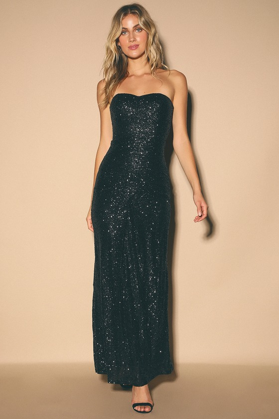 Izabelle Black Sequin Strapless Maxi Dress by Lulus