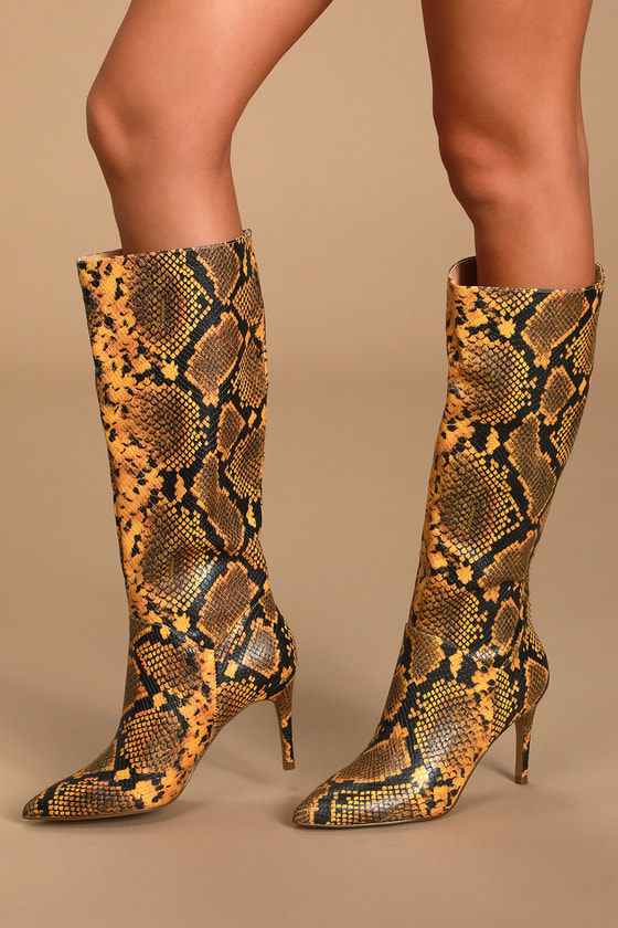 Kinga Yellow Snake Pointed-Toe Knee High Boots