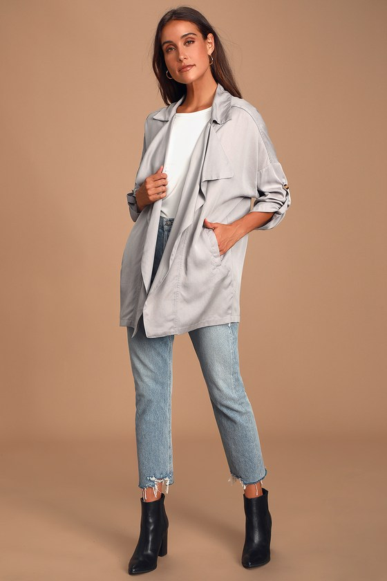 Lucky Break Light Grey Oversized Jacket - Lulus