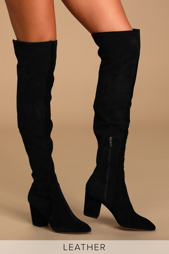 Vintage Boots, Granny Boots, Retro Boots Poet Black Suede Leather Pointed-Toe Over the Knee High Heel Boots - Lulus $198.00 AT vintagedancer.com