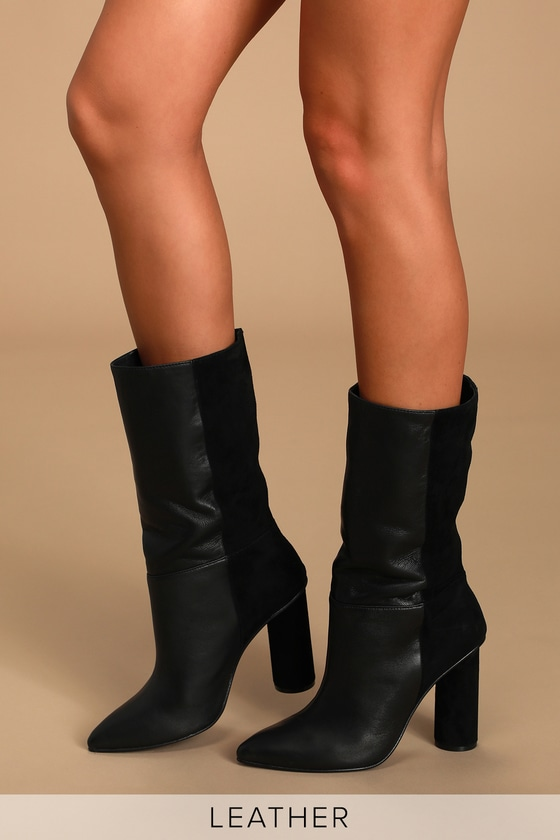 Kolby Black Leather Pointed-Toe High Heel Boots