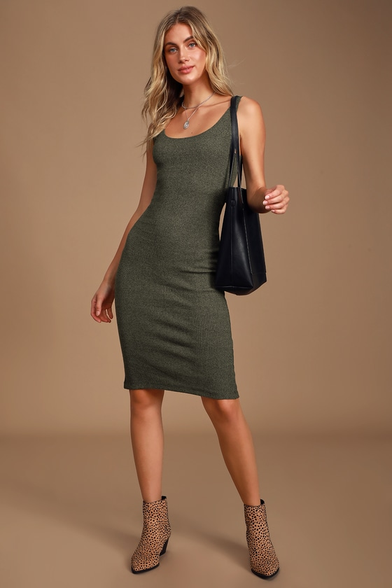 Gotta Flaunt It Heather Olive Green Ribbed Bodycon Midi Dress by Lulus