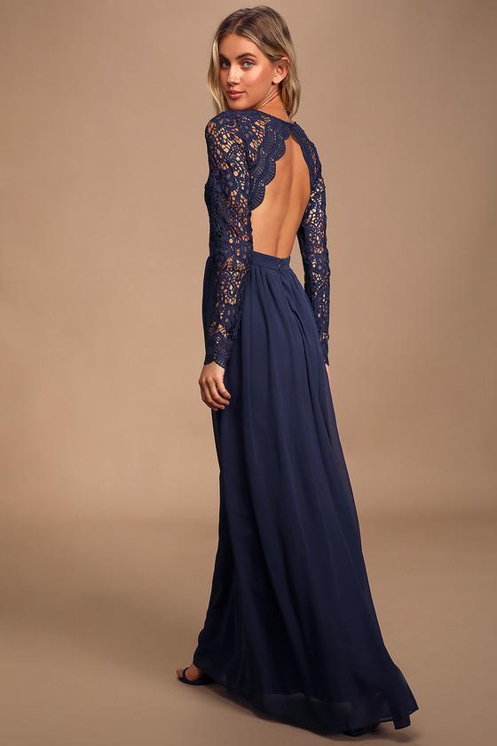 Navy Blue Dress Maxi Dress Lace Dress Long Sleeve Dress