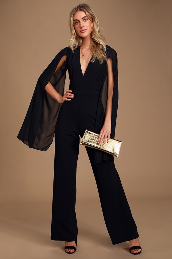Minerva Black Backless Cape Sleeve Jumpsuit