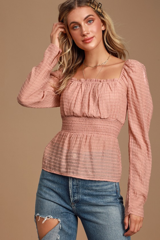 SONGBIRD MAUVE PINK STRIPED LONG PUFF SLEEVE TOP - CASUAL FALL OUTFITS