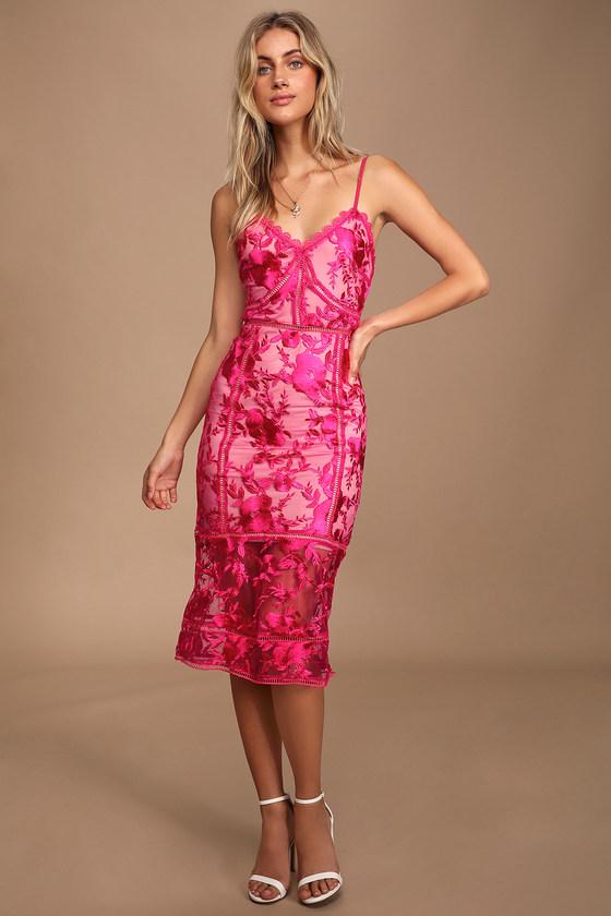 Sexy Pink Lace Dress