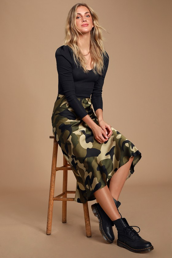 LOVE GREEN CAMO PRINT SATIN MIDI SKIRT - CASUAL FALL OUTFIT - MOMS CASUAL FALL