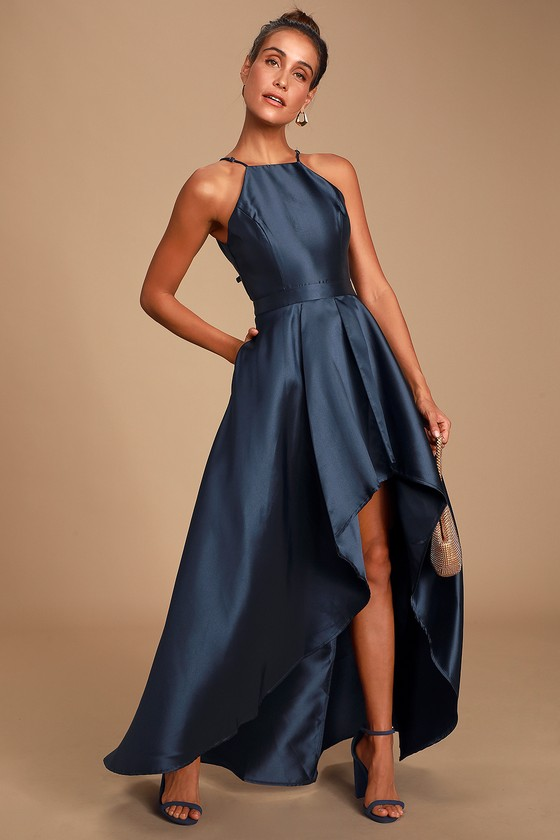 Lovely Navy Blue Dress High Low Dress Satin Gown