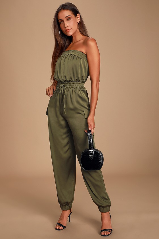 NIEVA OLIVE GREEN SATIN STRAPLESS CARGO JUMPSUIT -CASUAL FALL OUTFITS
