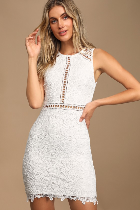 Dream Life White Lace Bodycon Dress