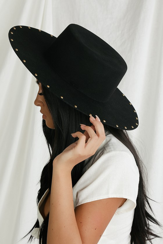 Hippie Hats,  70s Hats Chic Finesse Black Studded Wool Boater Hat - Lulus $105.00 AT vintagedancer.com