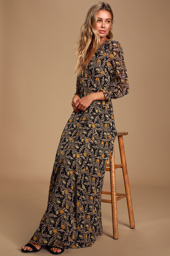 MEET ME THERE BLACK MULTI FLORAL PRINT WRAP MAXI DRESS -CLASSY FALL OUTFITS
