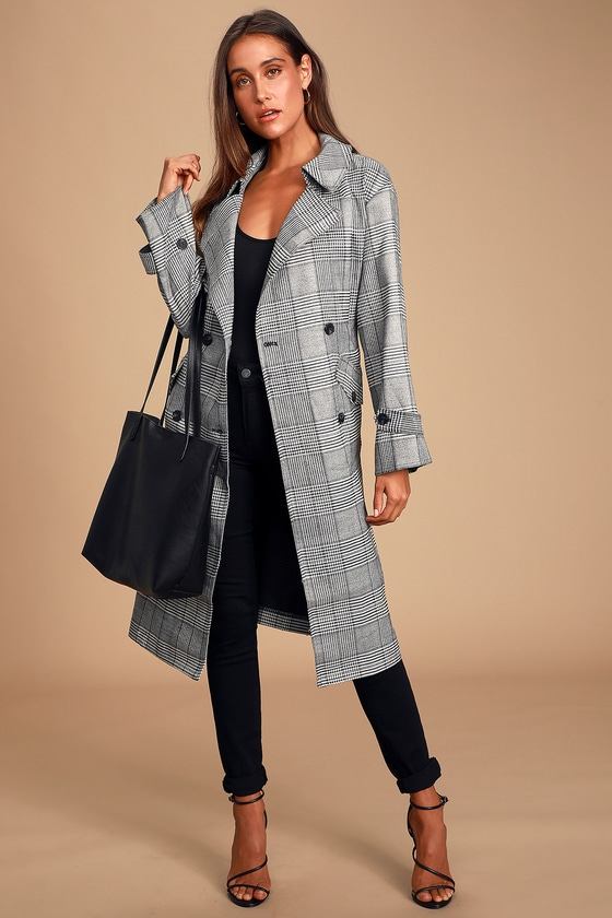 Midtown Black and White Houndstooth Plaid Double Breasted Coat