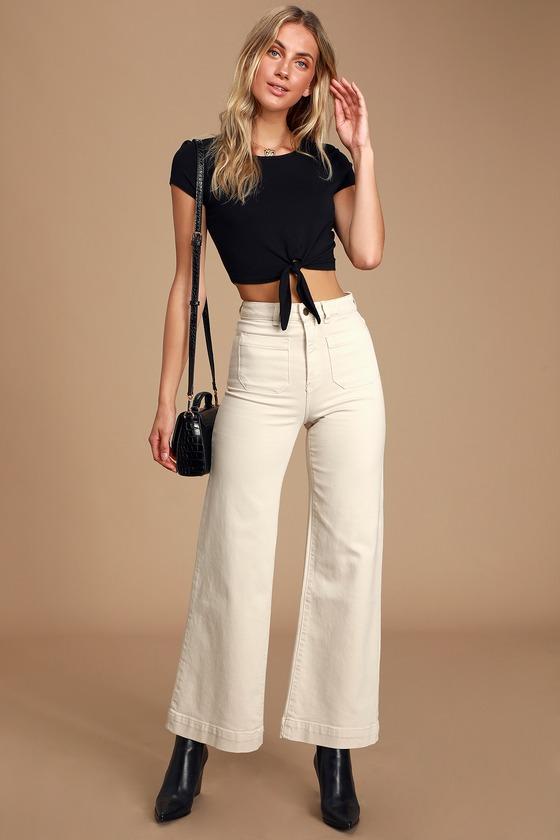 60s – 70s Pants, Jeans, Hippie, Bell Bottoms, Jumpsuits Sailor Cream High Rise Wide-Leg Jeans - Lulus $99.00 AT vintagedancer.com