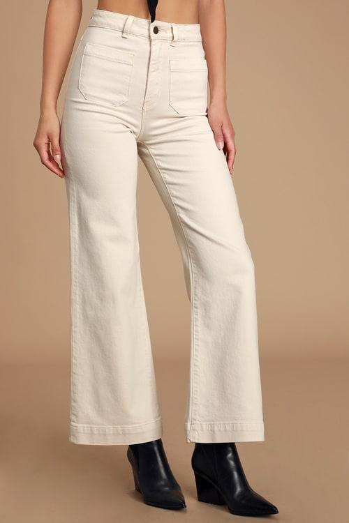 Sailor Cream High Rise Wide-Leg Jeans