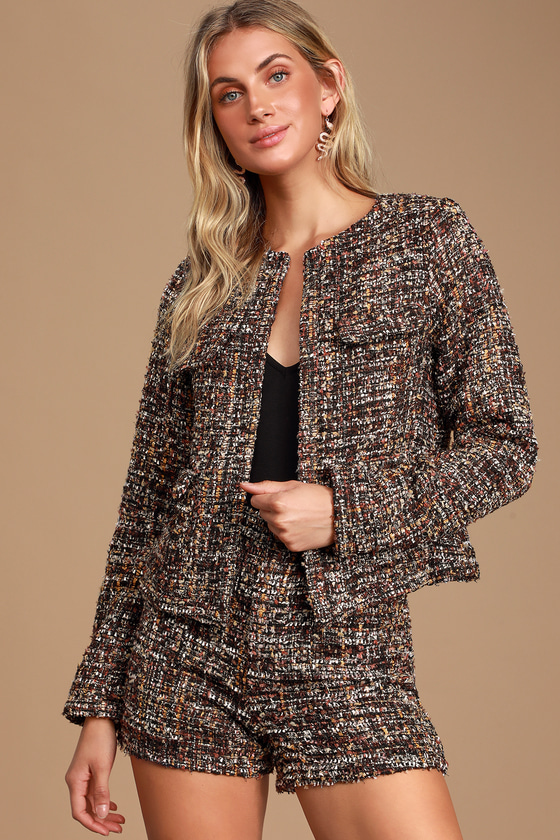 J'ADORE YOU BLACK MULTI BOUCLE CROPPED JACKET - TRENDY FALL OUTFIT
