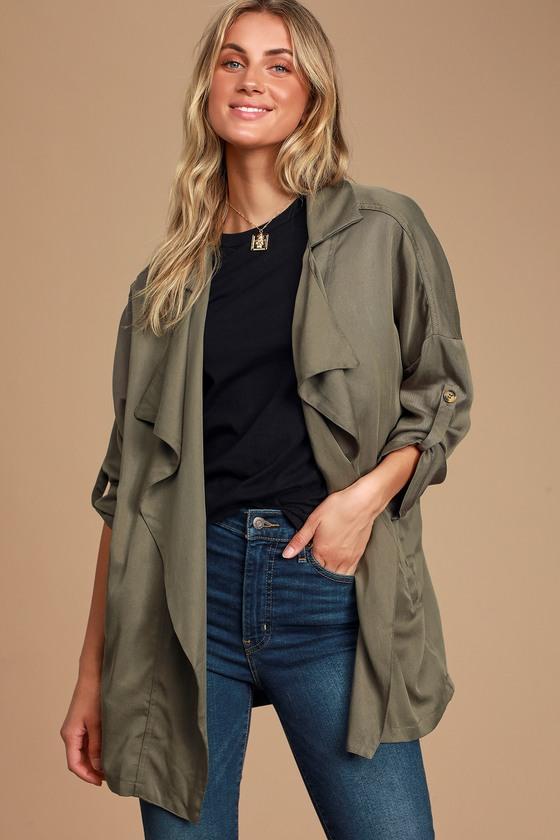 Lucky Break Olive Oversized Jacket - Lulus