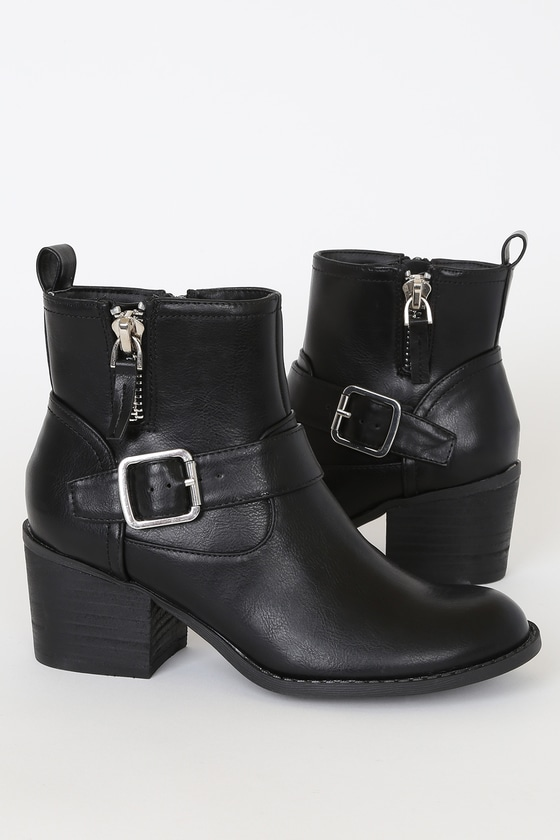 Vevi Black Buckled Ankle High Heel Boots - Lulus
