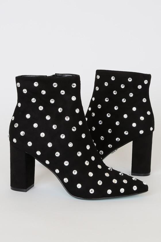 Elsie Black Suede Rhinestone Embellished Ankle High Heel Boots
