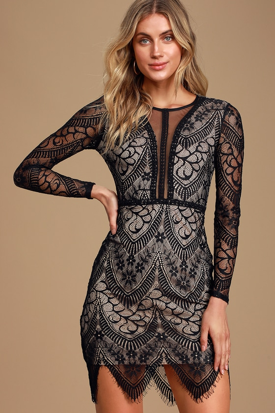 Totally Adored Black Lace Long Sleeve Bodycon Dress - Lulus