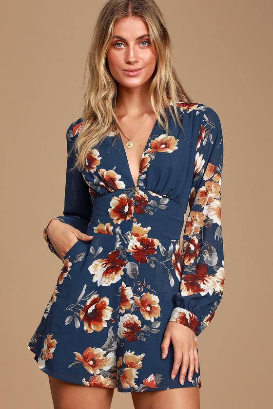 Roosevelt Navy Blue Floral Print Long Sleeve Romper - Lulus