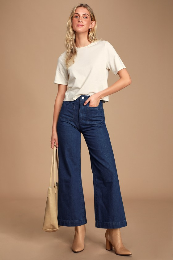 Vintage High Waisted Trousers, Sailor Pants, Jeans Sailor Dark Wash High Rise Wide-Leg Jeans - Lulus $99.00 AT vintagedancer.com