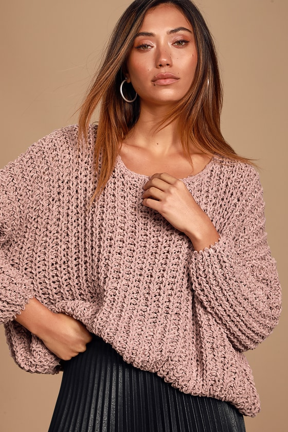 I\'d rather be cuddling in the Lulus Kyleigh Lavender Loose Knit Sweater! A super soft sweater, with a loose knit construction, featuring a scoop neckline and a slightly slouchy bodice framed by cozy long sleeves with trendy drop shoulders. Pair with a tank top and your favorite denim for a totally adorable \'fit! Fit: This garment fits true to size. Length: Size small measures 18\