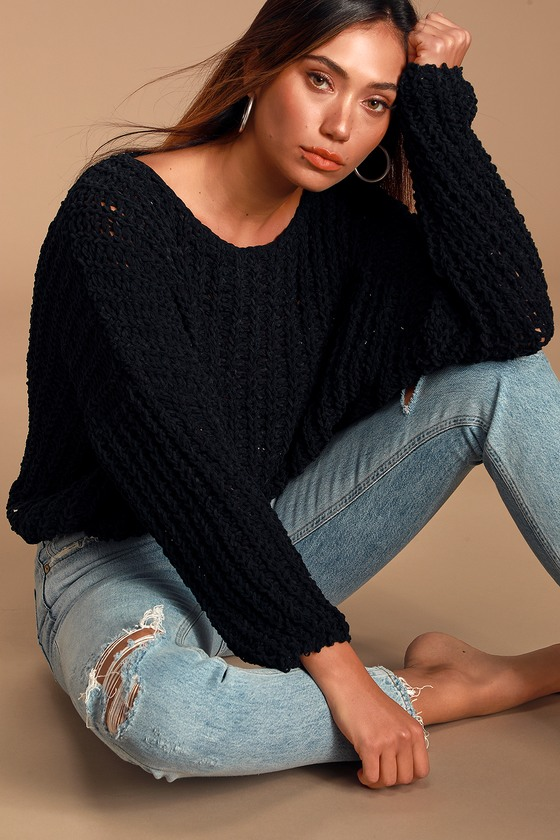 I\'d rather be cuddling in the Lulus Kyleigh Black Loose Knit Sweater! A super soft sweater, with a loose knit construction, featuring a scoop neckline and a slightly slouchy bodice framed by cozy long sleeves with trendy drop shoulders. Pair with a tank top and your favorite denim for a totally adorable \'fit! Fit: This garment fits true to size. Length: Size small measures 18\