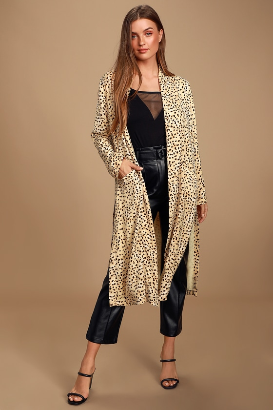 Arianne Cream and Black Cheetah Print Duster - Lulus