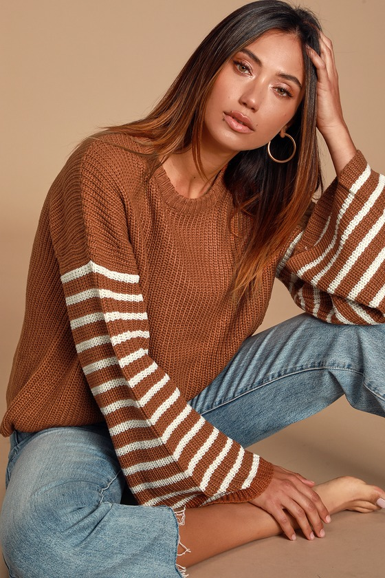 Rust Brown Striped Bell Sleeve Sweater - Fall Long Sleeve Outfit
