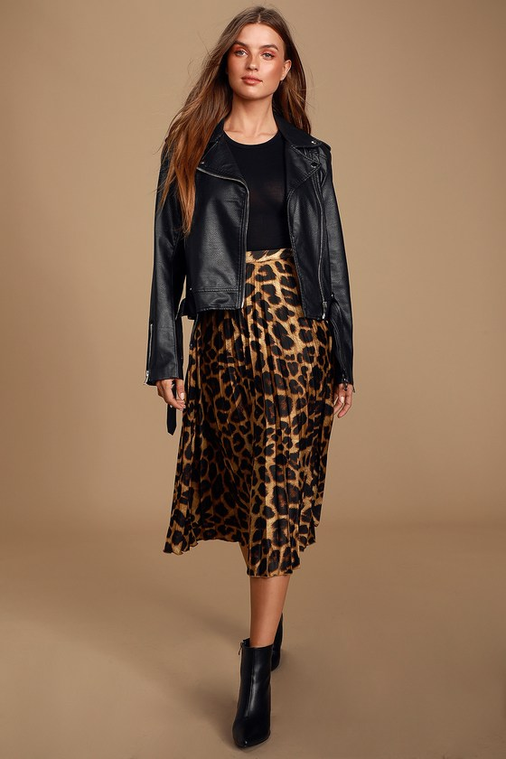 Tasteful Living Leopard Print Satin Pleated Midi Skirt by Lulus