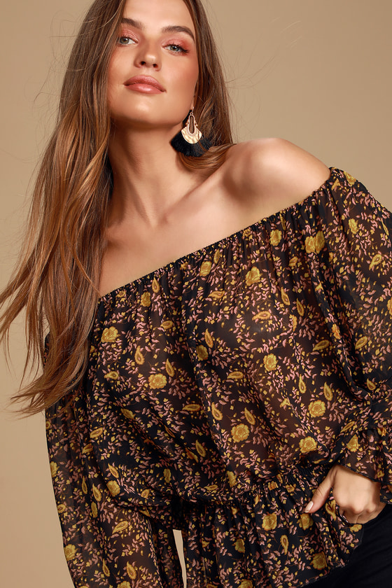 Aldie Black Floral Print Off-the-Shoulder Top - Trendy Blouse