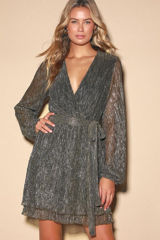 Flirt About It Gold and Black Metallic Mini Dress - Lulus