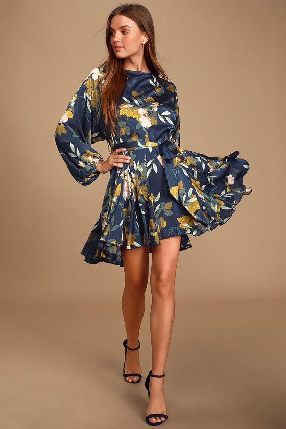 Austrina Navy Blue Floral Print Satin Long Sleeve Mini Dress - Lulus
