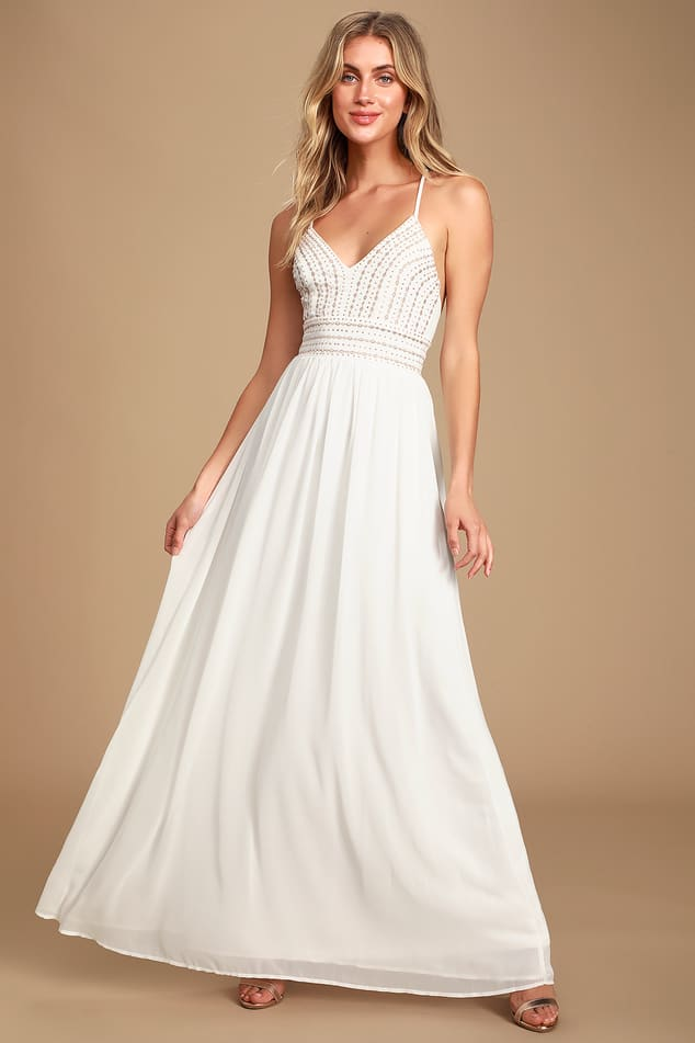 Stunning White Embroidered Maxi Dress Beaded Maxi Dress Lulus,Ribbon Corset Back Wedding Dress