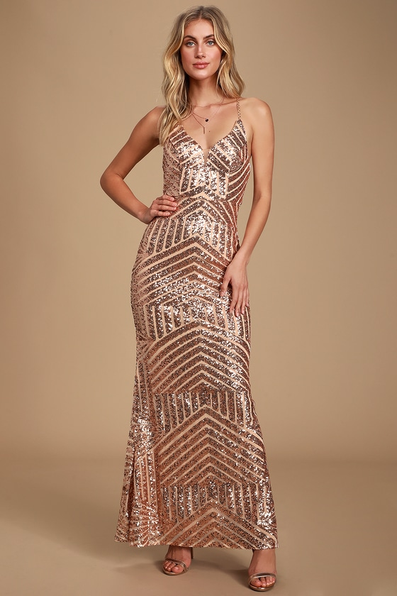 1930s Evening Dresses | Old Hollywood Dress Love the Spotlight Rose Gold Sequin Sleeveless Maxi Dress - Lulus $154.00 AT vintagedancer.com
