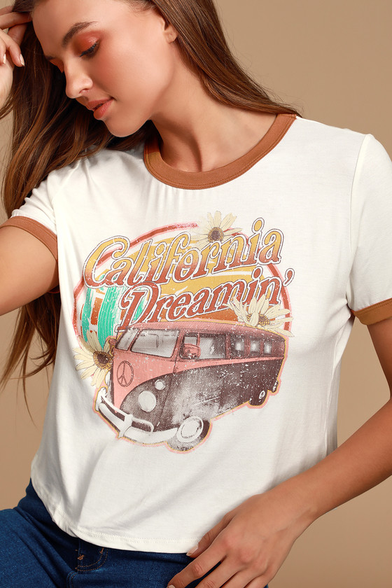 California Dreamin' White Graphic Cropped Tee - Vintage Tshirt Outfit