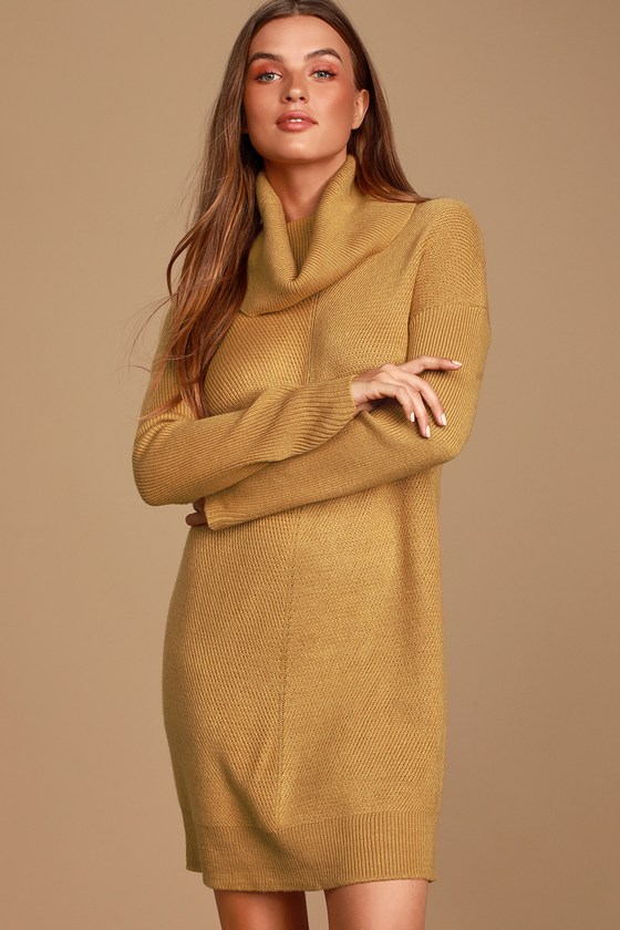 Tea Reader Camel Sweater Dress - Lulus
