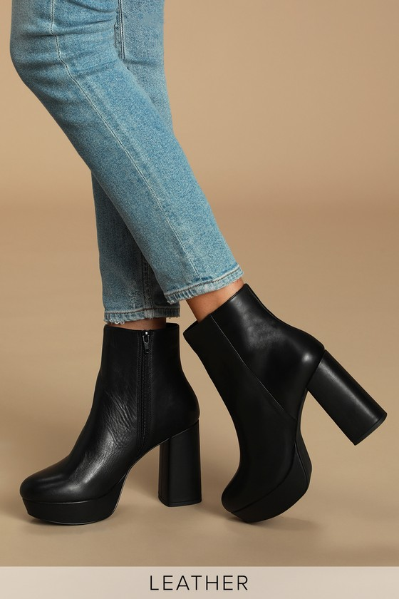 Grate Black Leather Platform Ankle Booties