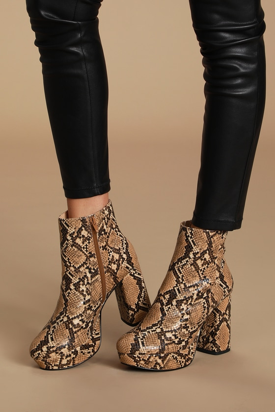 Grate Cognac Snake Platform Ankle Booties