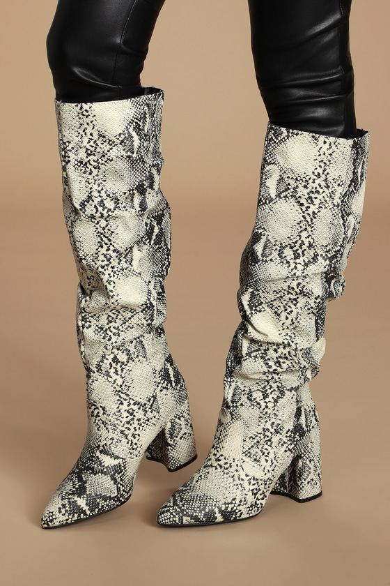 Cheriton Stone and Black Snake Pointed-Toe Knee High High Heel Boots