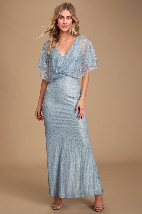 Bliss Delight Light Blue Lace Flutter Sleeve Maxi Dress