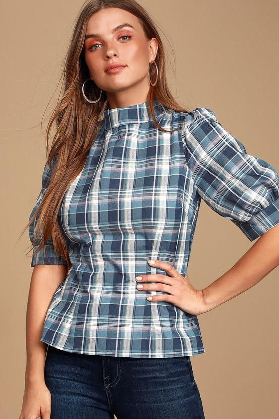 Edwardian Blouses   White & Black Lace Blouses & Sweaters Karen Blue Plaid Mock Neck Top - Lulus $38.00 AT vintagedancer.com