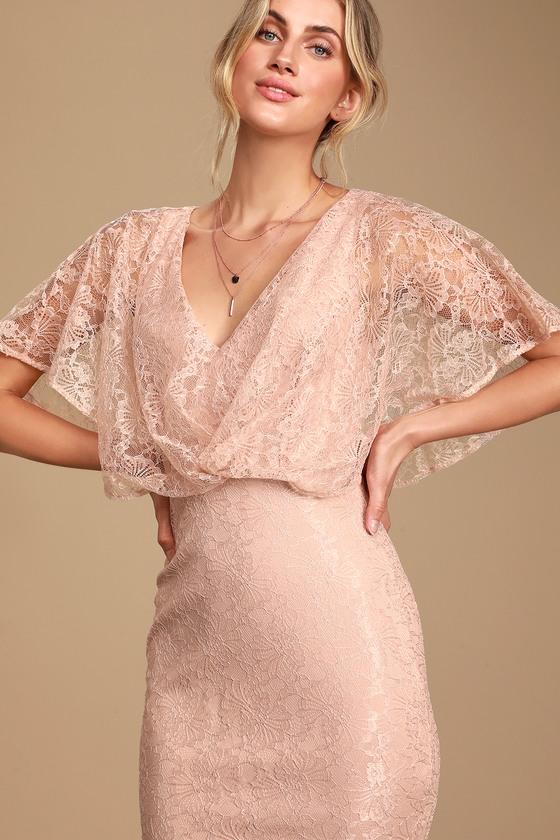 Vintage Evening Dresses and Formal Evening Gowns Bliss Delight Light Blue Lace Flutter Sleeve Maxi Dress - Lulus $65.00 AT vintagedancer.com