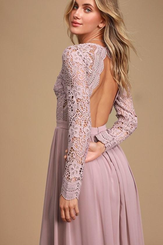 Awaken My Love Dusty Lavender Long Sleeve Lace Maxi Dress