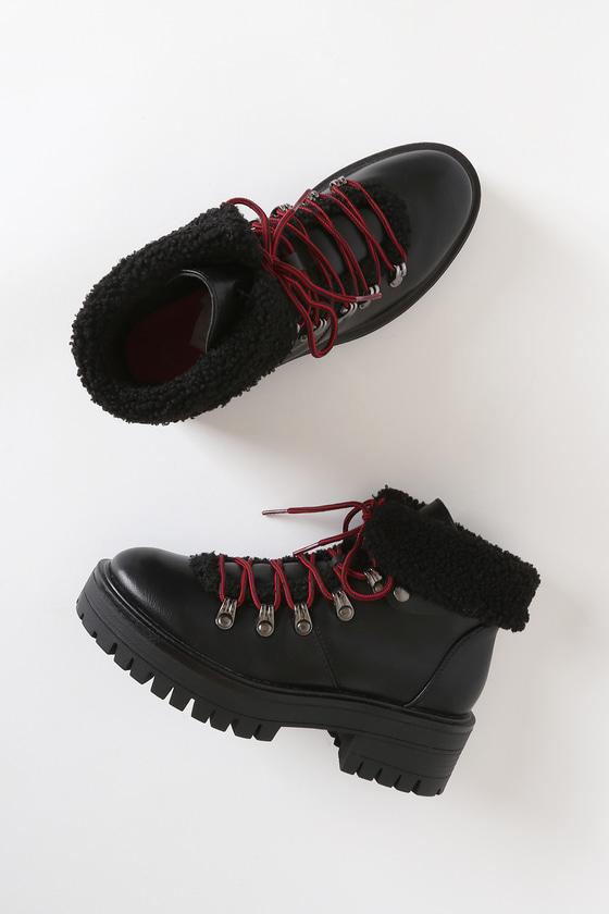 Tever Black Lace-Up Platform High Heel Boots