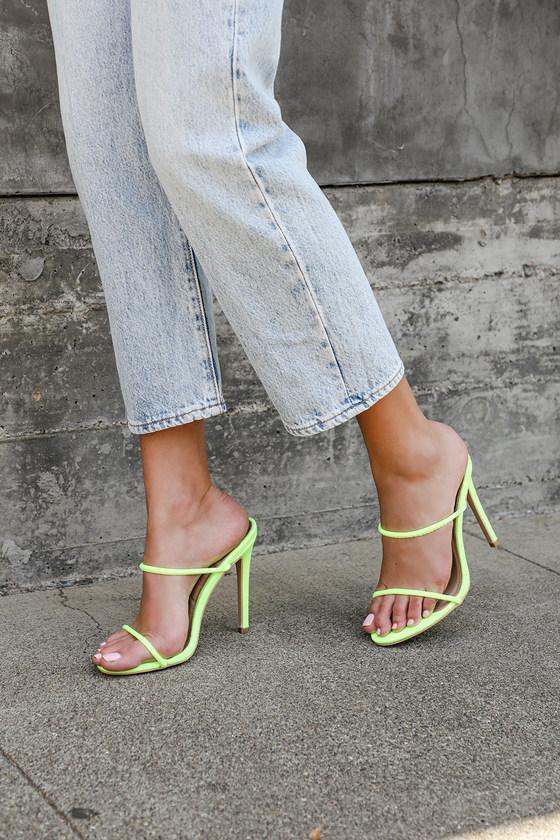 Chic Neon Lime Green Heels - High Heel