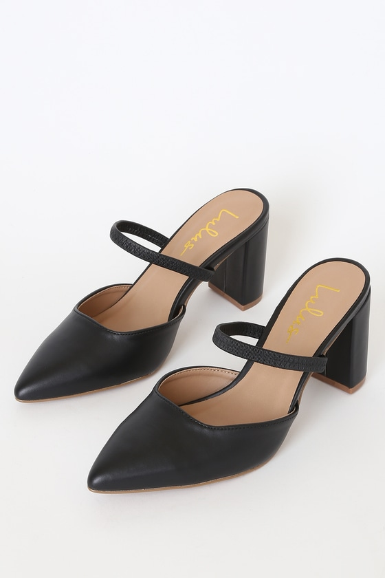 Lulus Exclusive! Take the Lulus Maryna Black Pointed-Toe Mules anywhere and everywhere! These adorable mule pumps have a pointed-toe upper, shaped by sleek vegan leather, and an elastic vamp strap. Slide-on design. 3. 5\