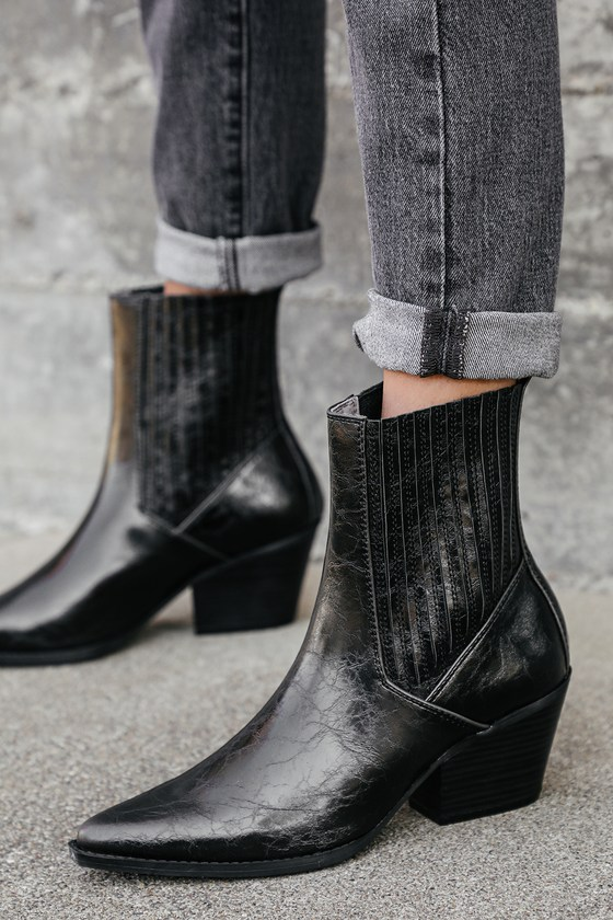 Camira Black Grainy Pointed-Toe Mid-Calf High Heel Boots