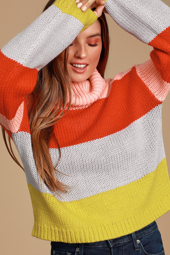 Color Me Cozy Pink Multi Color Block Sweater - Colorful Long Sleeve